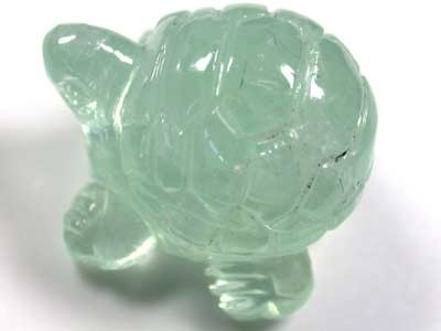 HANDCARVED LUCKY TURTLE PREHNITE  17.1CARATS RO 1402