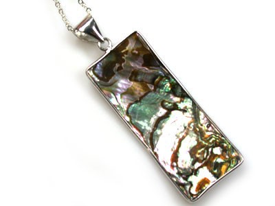 NATURAL PAUA SHELL, STERLING SILVER PENDANT 29.50CTS  AAA225