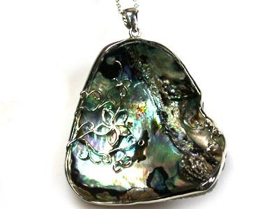 NATURAL PAUA SHELL, RHODIUM DESIGN PENDANT 139CTS  AAA258