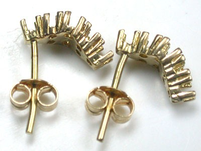 18 K GOLD PAIR EARRING FINDINGS POLISHED READY TO SET L302