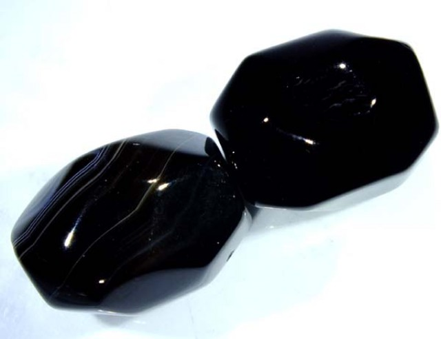 BLACK ONYX FACETED BEAD 2 PCS 83 CTS NP-1051