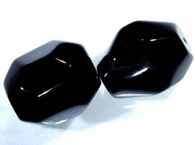 BLACK ONYX FACETED BEAD 2 PCS 80 CTS NP-1052