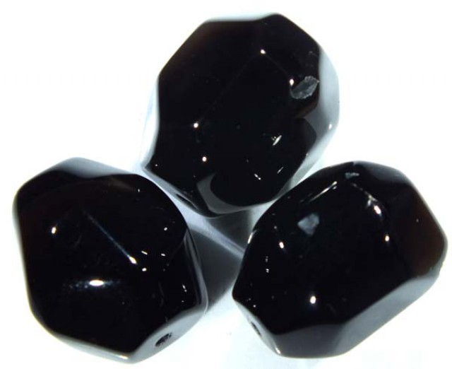 BLACK ONYX FACETED BEAD 3 PCS 99 CTS  NP-721