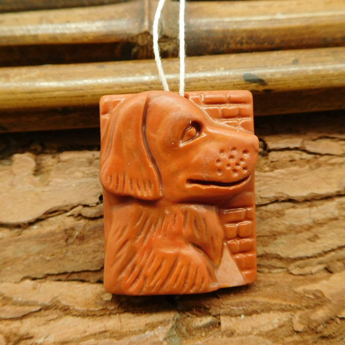 Red agate carved dog pendant (G1061)