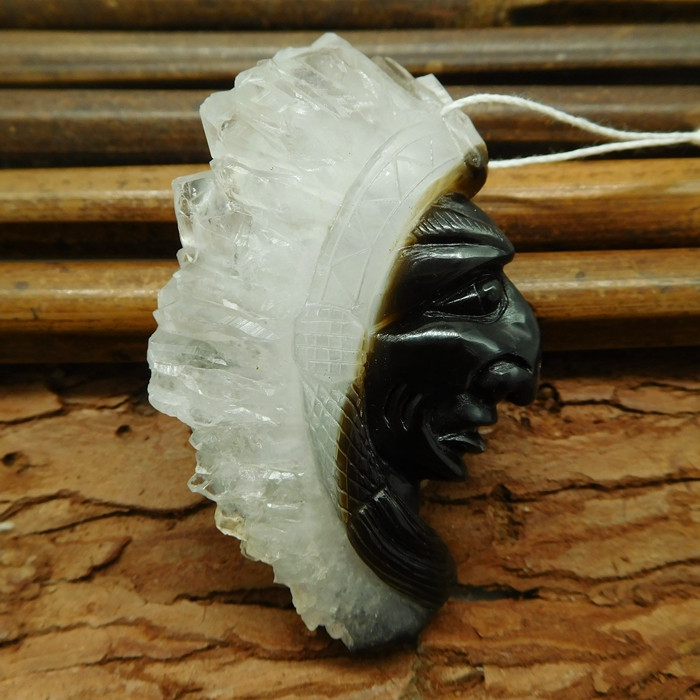 Black agate carve ameirican native face pendant carving (G1076)