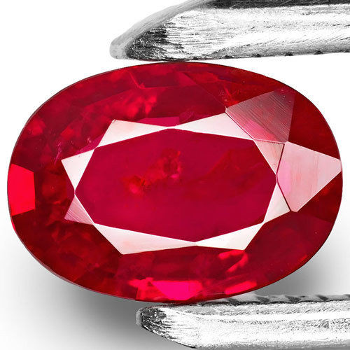 Mozambique Ruby, 0.76 Carats, Deep Pigeon Blood Red Oval
