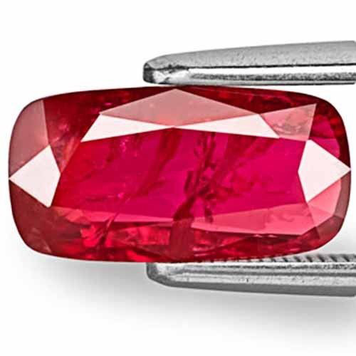 AIGS Certified Mozambique Ruby, 2.49 Carats, Deep Red Cushion