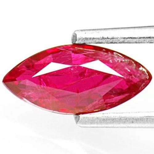 IGI Certified Mozambique Ruby, 0.93 Carats, Intense Purplish Red Marquise