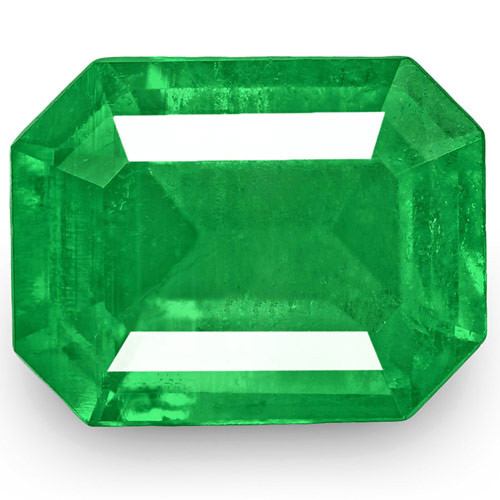 Colombia Emerald, 0.93 Carats, Lively Intense Green Emerald Cut