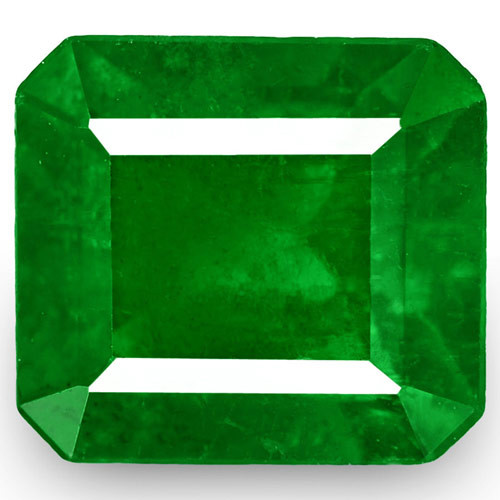 Colombia Emerald, 0.66 Carats, Velvety Royal Green Emerald Cut
