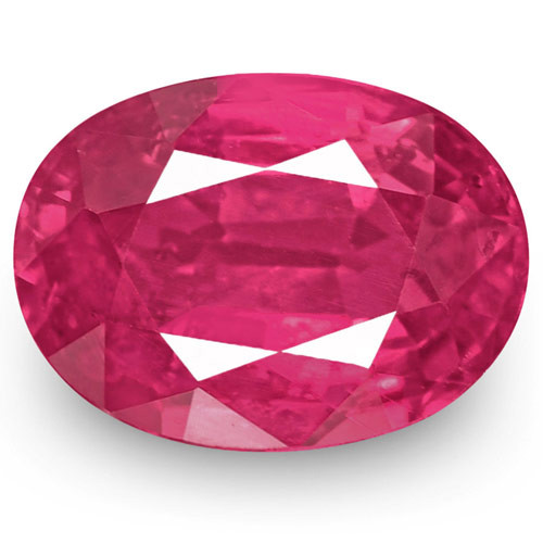 IGI Certified Mozambique Ruby, 1.31 Carats, Fiery Vivid Pink Red Oval