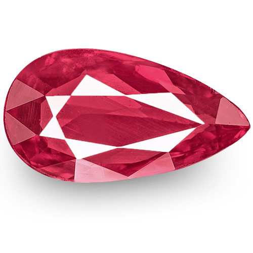 IGI Certified Mozambique Ruby, 1.01 Carats, Intense Pinkish Red Pear