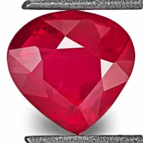 IGI Certified Mozambique Ruby, 1.18 Carats, Deep Pinkish Red Pear