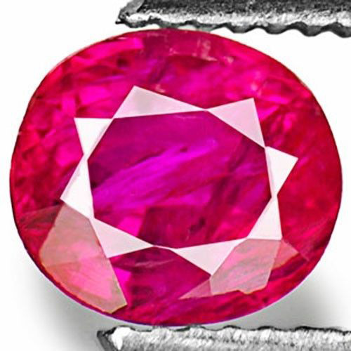IGI Certified Burma Ruby, 1.01 Carats, Pinkish Red Oval