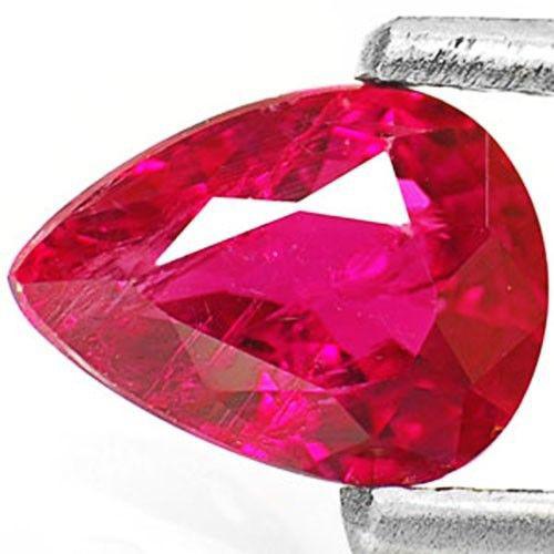 IGI Certified Burma Ruby, 0.88 Carats, Vivid Purplish Red Pear