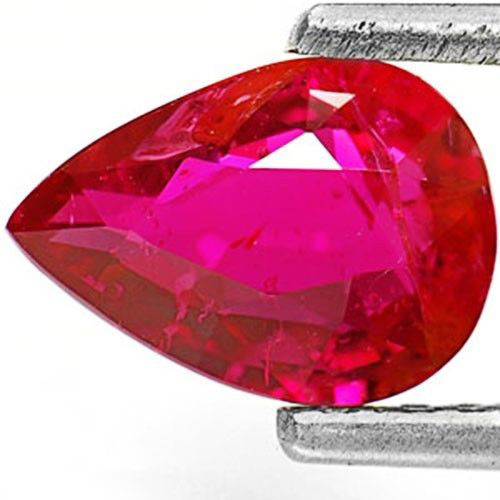 IGI Certified Mozambique Ruby, 1.07 Carats, Intense Red Pear