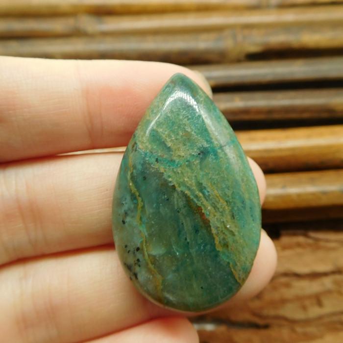 Natural green chrysocolla cabochon (G1129)