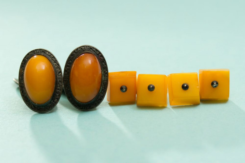 2 pair of cufflinks, Natural Baltic amber honey color, Silver 875