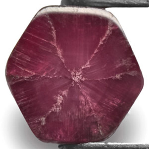 Burma Trapiche Ruby, 2.46 Carats, Deep Magenta Red Hexagonal