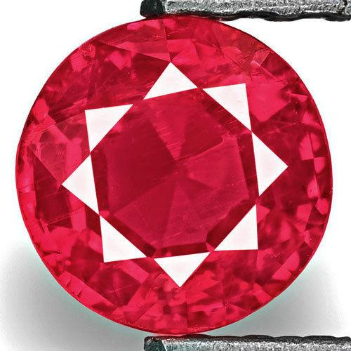 Tanzania Ruby, 0.93 Carats, Rich Orangish Pinkish Red Round