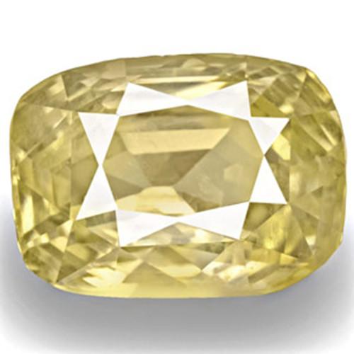 IGI Certified Sri Lanka Yellow Sapphire, 8.15 Carats, Light Yellow Cushion
