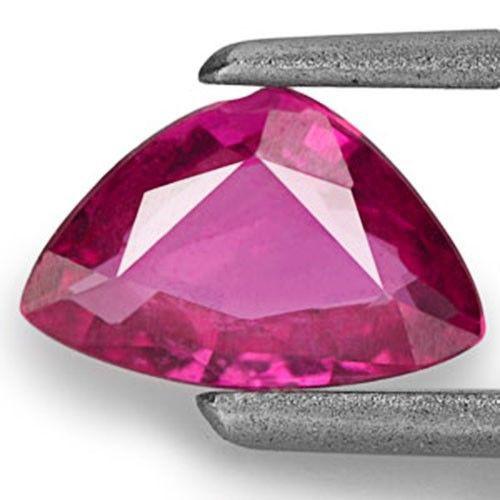 Mozambique Ruby, 0.58 Carats, Intense Purplish Pink Trilliant