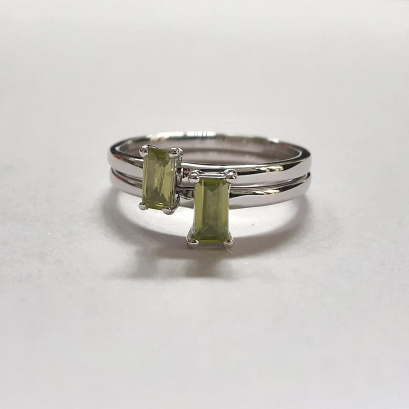 Peridot 925 Sterling silver stacking ring set #567 and #568
