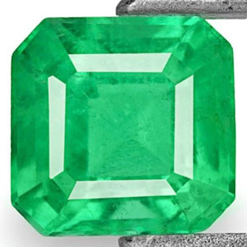 Zambia Emerald, 0.52 Carats, Vivid Neon Green Emerald Cut