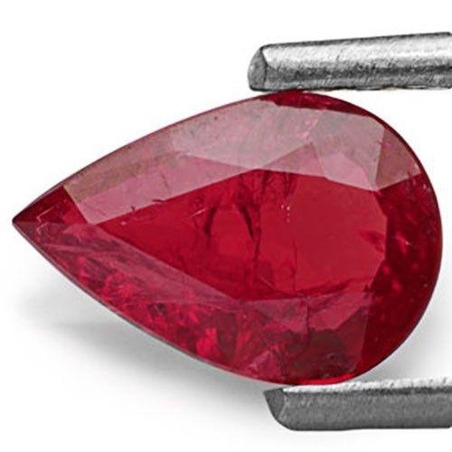 IGI Certified Mozambique Ruby, 0.81 Carats, Deep Purplish Red Pear