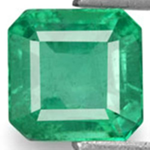 Zambia Emerald, 0.84 Carats, Intense Green Emerald Cut