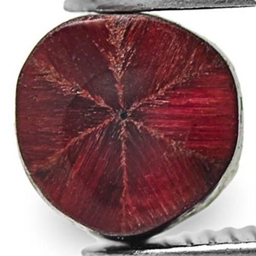 Burma Trapiche Ruby, 0.68 Carats, Dark Red Hexagonal