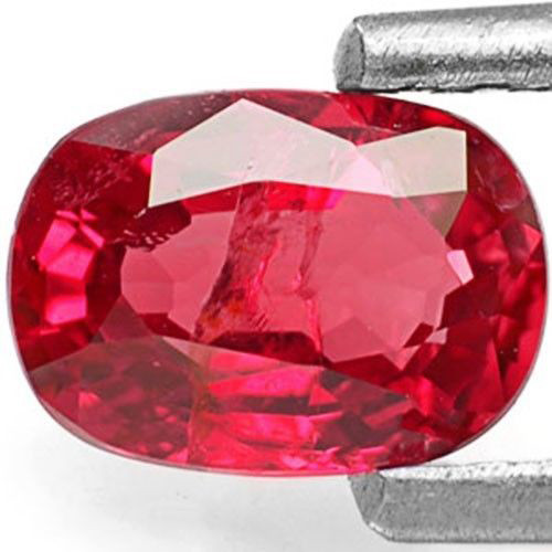 Burma Ruby, 0.77 Carats, Intense Pinkish Red Oval