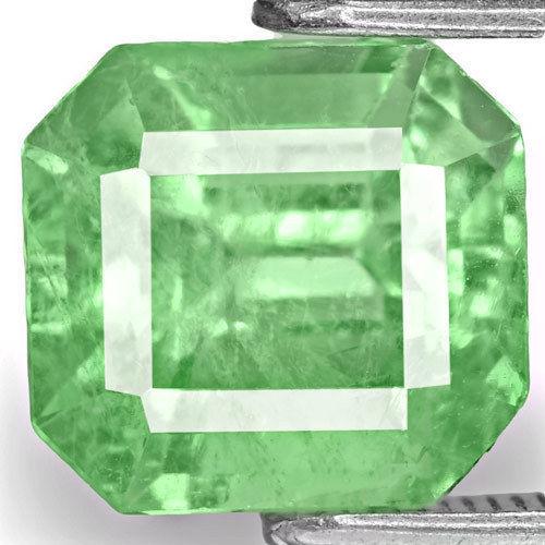 Colombia Emerald, 2.60 Carats, Vivid Pastel Green Emerald Cut