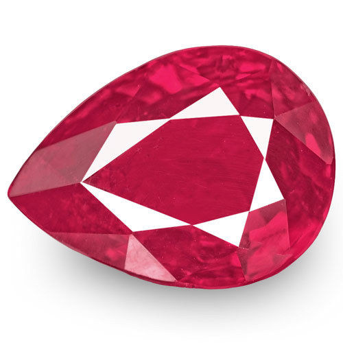 Mozambique Ruby, 1.01 Carats, Pinkish Red Pear