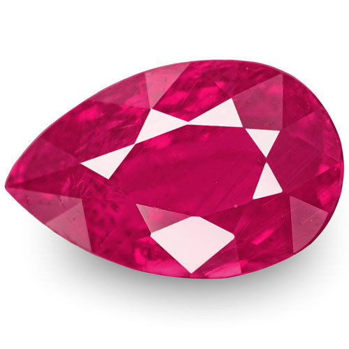Mozambique Ruby, 1.64 Carats, Rich Pinkish Red Pear