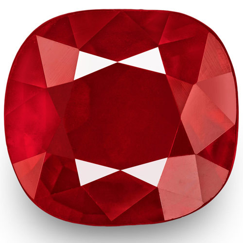 GRS Certified Mozambique Ruby, 5.01 Carats, Velvety Intense Red Cushion