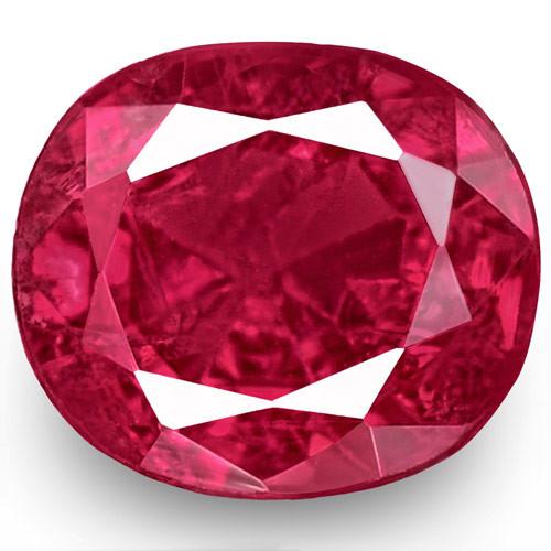 IGI Certified Burma Ruby, 0.62 Carats, Vivid Purplish Red Oval