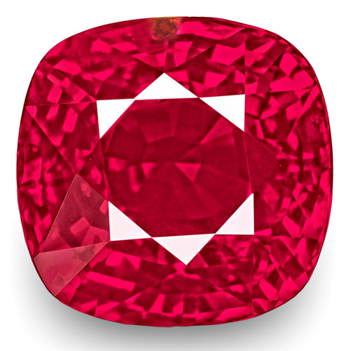 GRS Certified Mozambique Ruby, 3.03 Carats, Fiery Vivid Pinkish Red Cushion