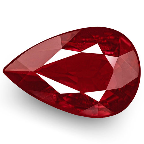 IGI Certified Mozambique Ruby, 1.10 Carats, Deep Purple Red Pear