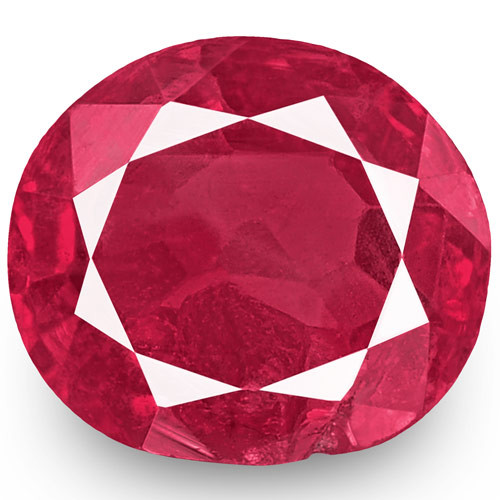 IGI Certified Burma Ruby, 0.59 Carats, Pinkish Red Oval