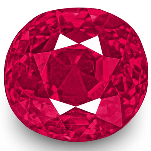 IGI Certified Burma Ruby, 1.10 Carats, Lustrous Vivid Pinkish Red Oval