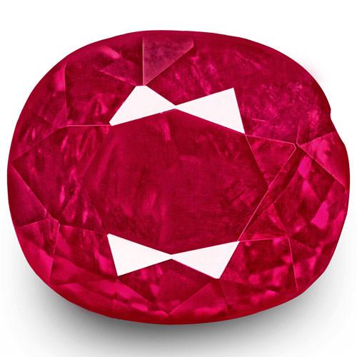 IGI Certified Burma Ruby, 1.08 Carats, Rich Velvety Pinkish Red Cushion