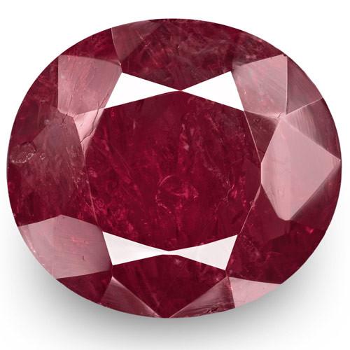 GRS Certified Burma Ruby, 7.38 Carats, Deep Purplish Red Oval