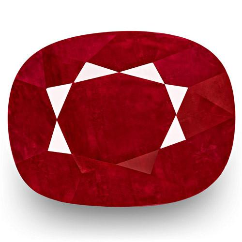 GRS Certified Burma Ruby, 4.79 Carats, Deep Red Cushion