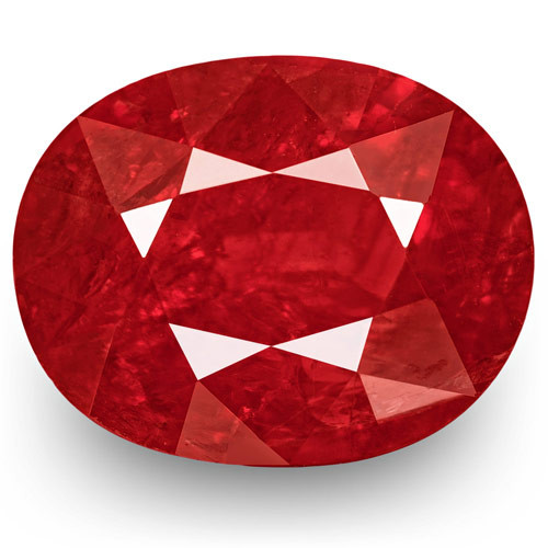 IGI Certified Mozambique Ruby, 2.12 Carats, Fiery Neon Red Oval