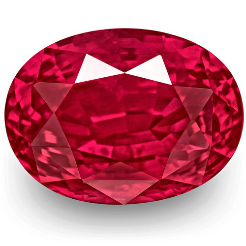 Mozambique Ruby, 6.51 Carats, Fiery Vivid Pinkish Red Oval