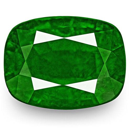 GRS Certified Zambia Emerald, 5.39 Carats, Rich Velvety Royal Green Cushion