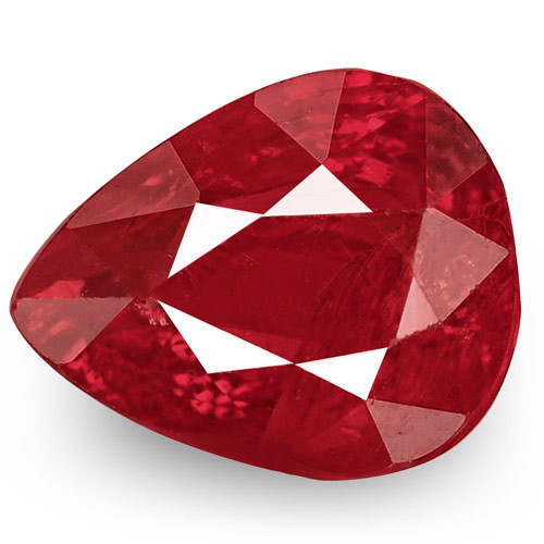 IGI Certified Mozambique Ruby, 0.98 Carats, Deep Pinkish Red Pear