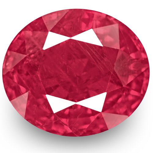 GRS & IGI Certified Burma Ruby, 2.38 Carats, Velvety Pinkish Red Oval