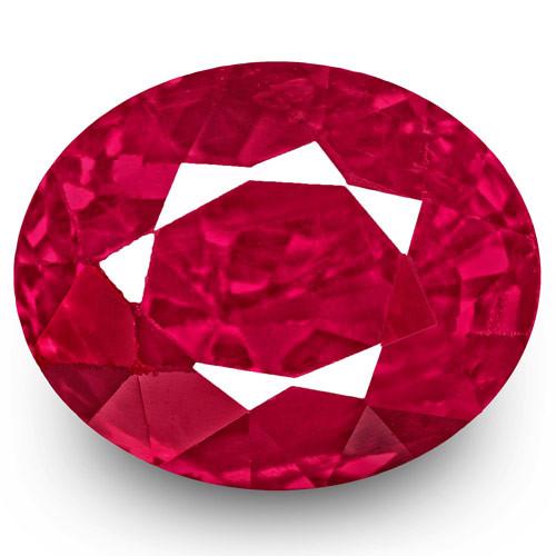 IGI Certified Burma Ruby, 1.77 Carats, Fiery Vivid Pinkish Red Oval